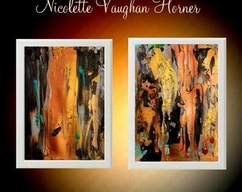 Original Abstract paintings on cold pressed  French Cotton paper,set of two  by Nicolette Vaughan Horner