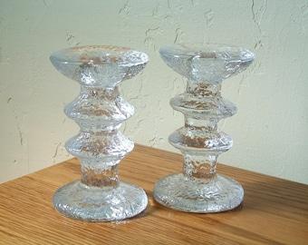 Vintage Iittala Festivo Candlesticks Set of 2 Two Ring 2 Ring Candleholder Timo Sarpaneva Finland