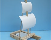 SAILBOAT WHITE SQUARE Rigger  Toy Sailboat, Wood Toy Boat,Sailboat, Pool Toy,Boat, Wooden Toy, Heirloom Toy, Wooden Boat,Catamaran Toy Boat