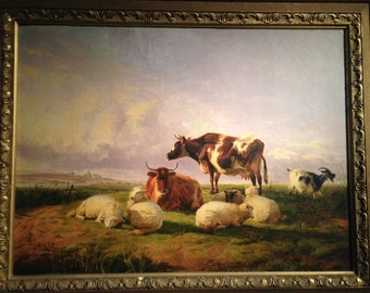 Framed Pasture Scene by Thomas Sidney Cooper