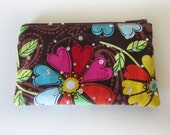 Zippered Coin Purse with Floral Print and Card Slot