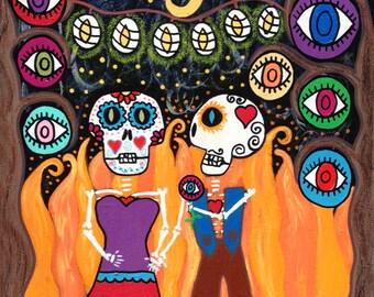 Kerri Ambrosino Art NEEDLEPOINT Mexican Folk Art  Day of The Dead Sugar Skulls Hearts Love Evil eye protection Fire