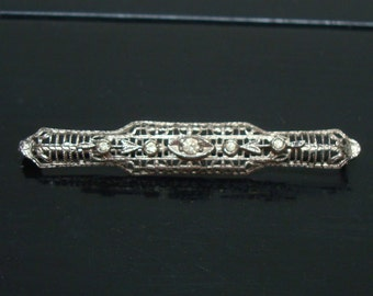 Vintage Art Nouveau Silver Bar Pin W/ Arrows & Clear Paste Stones - 1910s 1920s Art Deco - Downton Abbey - Wedding Jewelry - Bridal Jewelry