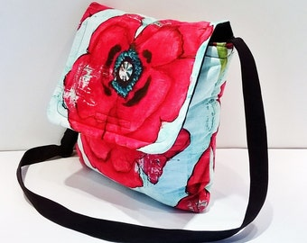 Poppy Messenger Bag - Red Poppy Messenger - Big Poppy Print Bag - Poppy Print Bag - Large Poppy Print - Flower print Messenger
