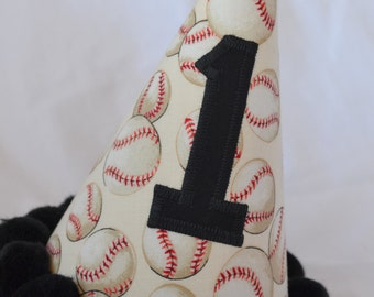 Baseball Birthday Party Hat in White Cream and Black
