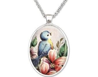 Bluebird Reflections Plain Oval Pendant Necklace Pendant Art Pendant Photo Graphic Pendant