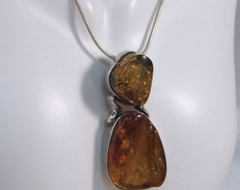 "c1980's Baltic Amber Pendant and 18"" Sterling Italian Mesh Chain"