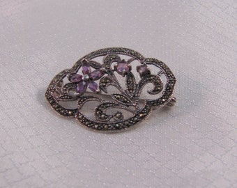 Vintage Victorian Sterling, Marcasite and Amethyst Flowers Broch