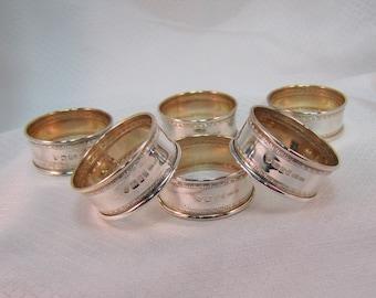 London Designer Ari D. Norman Sterling Napkin Ring Set, 1987 Date Mark, 6 Rings