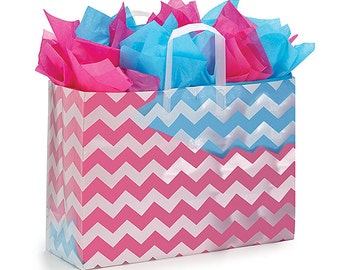 5ct. LARGE Plastic White CHEVRON Zig Zag Frosted Retail Gift Bags TOTES with Handles (Free Shipping!)