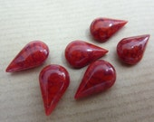 6 glass jewels, 13x8mm, marbled red, pear