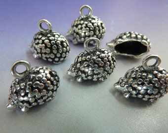 6 pendants, hedgehog, antique silver