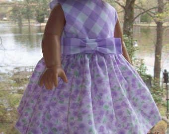 American Girl Doll or 18 inch doll dress and hair clip. Lilac Dogwood Allover by Daisy Kingdom.