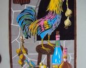 Vtg. Tea Towel A Most Colorful Rooster Coq Au Vin NOS Tag