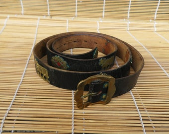 """Vintage Aged Dark Brown Leather Tooled Belt Fits from 40"""" to 45"""" waist"""