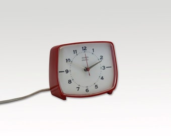 1970's Electric Alarm Clock- German - Red - Anker Electric - Vintage Alarm Clock