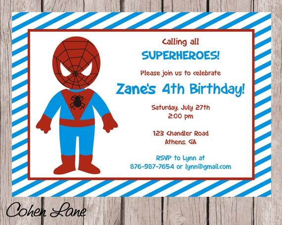Spiderman invitation superhero birthday invitation spiderman il570xn stopboris Image collections