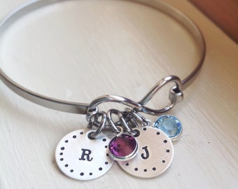 Initial Bangle Best Friends Infinity Personalized Bracelet Birthstone Mom Jewelry Gift for Mom Grandma BFF gift graduation