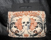 "MAKE A STATEMENT with this Medium Handled Clutch, Purse, Alexander Henry ""Regency Skulls"" Fabric, Swoon Patterns, ""Coraline"", Handmade"