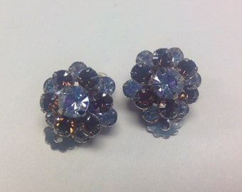 Delicate Rhinestone with a touch of Brown Clip Earrings