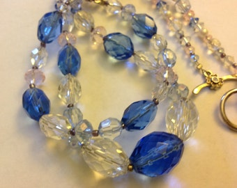 Handmade Crystal (vintage) Necklace and Bracelet Blue and Clear Sale!
