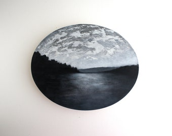 Black and White Sunset Oval Oil Painting