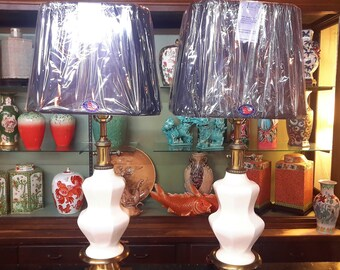 STUNNING PAIR Paul Hanson Style Lamps Brushed Brass Porcelain Mid Century Lighting Decor