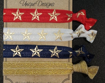 Memorial Day, 4th of July, Red, White and Blue Metallic Hair Ties or Wrist Ties FOE