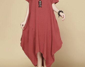 Cotton and linen  Loose Fitting Long dress Buddhist red large size summer dress