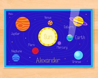 Olive Kids Personalized Planets Placemat, Laminated Placemat, Educational Placemat, Students Placemat, Kids Mealtime Placemat, Solar System