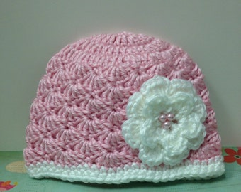 Emma Hat / pink with white flower / Made to Order