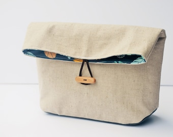 Fold Over Pouch, Project Bag, Cosmetic Bag, Waxed Canvas Base, Natural Linen, Navy wildflower