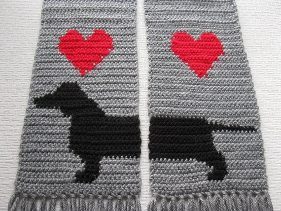 Grey Dachshund Scarf.  Gray crochet scarf with red hearts and dachshund dog.