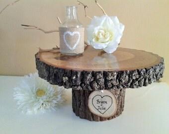 "TREASURY ITEM - 11"" Rustic Wedding Cake Stand - Wood cake stand - Wood Tree slice - Centerpiece - Wedding cake stand"