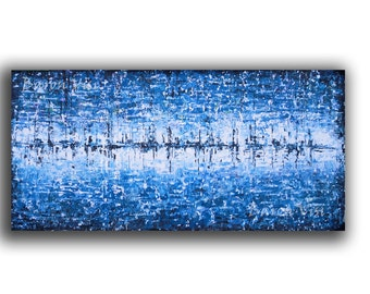 art, wall art, home decor, abstract painting art acrylic large canvas Textured impasto  modern palette knife blue white Fine Art Visi