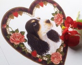 Black and white cocker spaniel dog art print by Fiammetta Dogi 5x7 - Victorian heart frame
