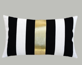 """Decorative Pillow Case, Striped Black-White Cotton fabric Lumbar pillow case with a Bright Gold color fabric accent 2, fits 12"""" x 20"""" insert"""