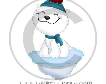 Chibi Polar Bear on ice cap in beanie cap, adorable Clipart and graphics