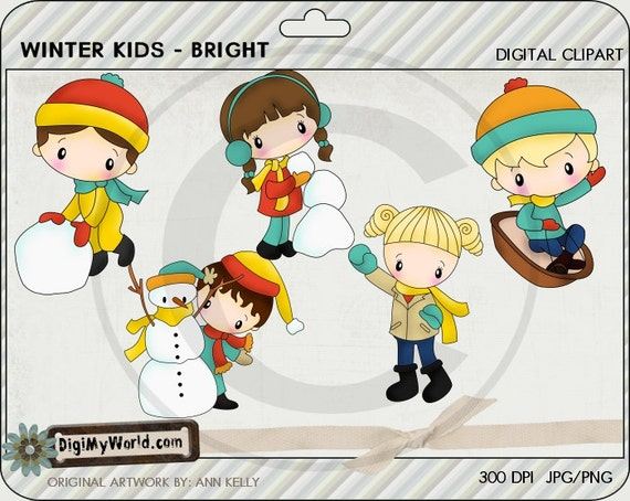 Winter Kids for the season snow snowman toboggan Clipart and graphics