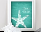 Starfish Connection - Custom Beach Wedding Name Date Print - Personalized Wedding Gift - Bridal Shower Gift - Engagement Present - Unframed