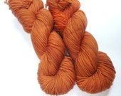 Hand Dyed Superwash Merino Sport Weight Yarn in Copper Penny Colorway