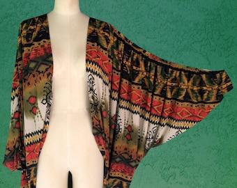 Cocoon Jacket / Cape Jacket / Batwing Jacket / Long Sleeve Jacket / Open Jacket / Chiffon Jacket / African Print / Tribal - Small/Medium