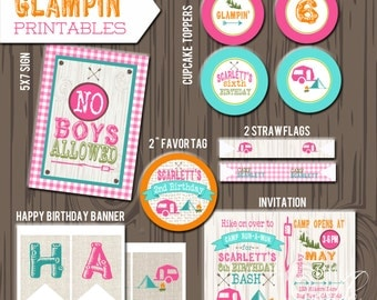 Camping Birthday printable set, DIY, Printable camp birthday, Camping invitation, girl camping invite