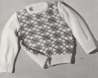 Instant Download, Toddlers Argyle Sweater, Size 2-3 pdf pattern, Vintage pattern.