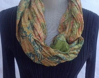 Vintage Sari Silk Infinity scarf   FREE SHIPPING