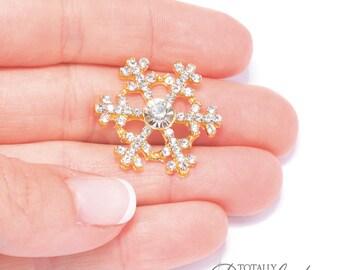 50pcs Wholesale Snowflakes, Winter Wedding Crystal Rhinestone Snow Flake Embellishments Wholesale Diamante Snowflake Bling, Flat Back 543-G