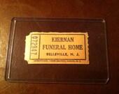 Vintage Funeral Home Ephemera Ticket Kiernan Bellville NJ Funerary
