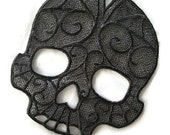 Gothic Gray Lace Skull