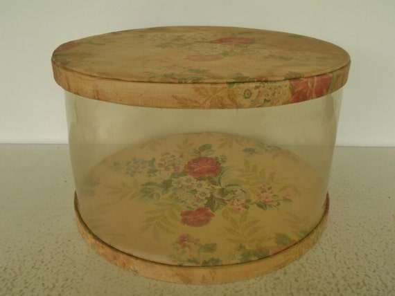16 Hat Box Large Round Floral Clear Vinyl Fabric Lid