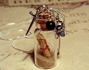 Treasure Map Bottle Necklace Message in a Bottle Pirate Miniature Glass Pendant or Keyring Keychain